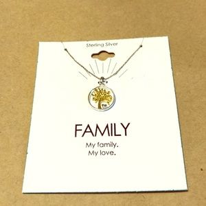 Sterling silver family tree necklace NWT